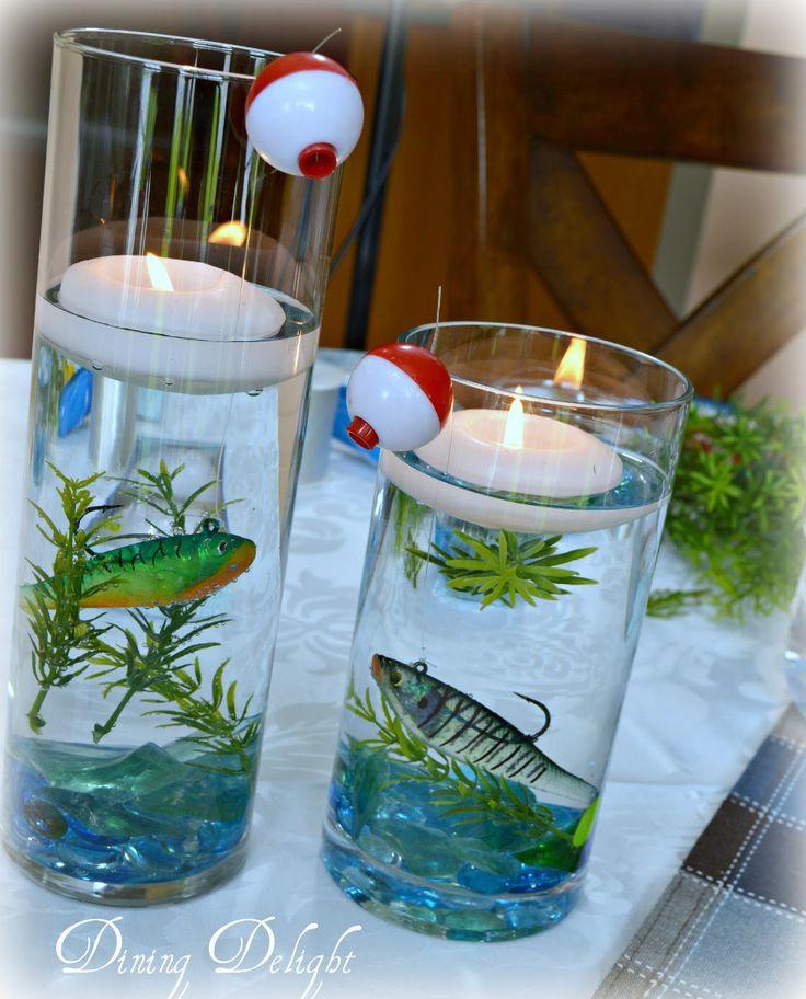 Fishing Wedding Ideas: Fishing Centerpiece In Cylinder Vase