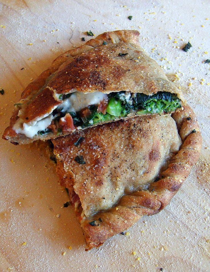 vegan veggie calzone with roasted garlic cream