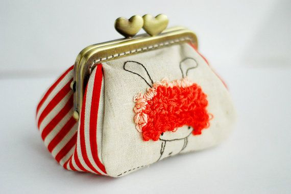 Embroidery Red Bunny Girl Purse by lazydoll on Etsy, $39.90