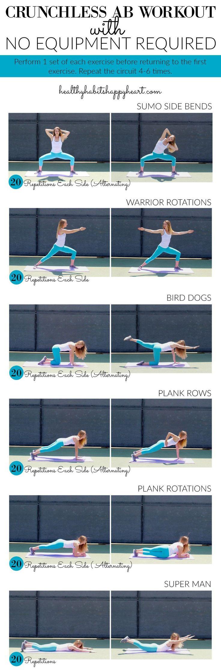 Crunchless Ab Workout | healthyhabitshappyheart.com