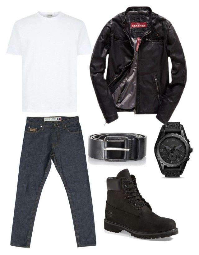 """The Turquoise Denim T Series on road"" by turquoisedenim on Polyvore featuring Superdry, Timberland, FOSSIL, Diesel, mens, men, men's wear, mens wear, male and mens clothing"