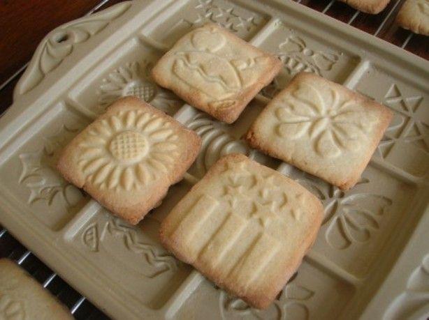 I have several cute ceramic cookie molds that you use to bake in.  They take a special dough that can stand up to being released from the molds.  This recipe came in a cookie book that came with one of the molds.  The serving size depends on your molds. I will put 12 for the purpose of this recipe.