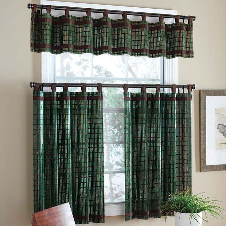 Plaid Dark Green Curtains Windows Design In Small Living