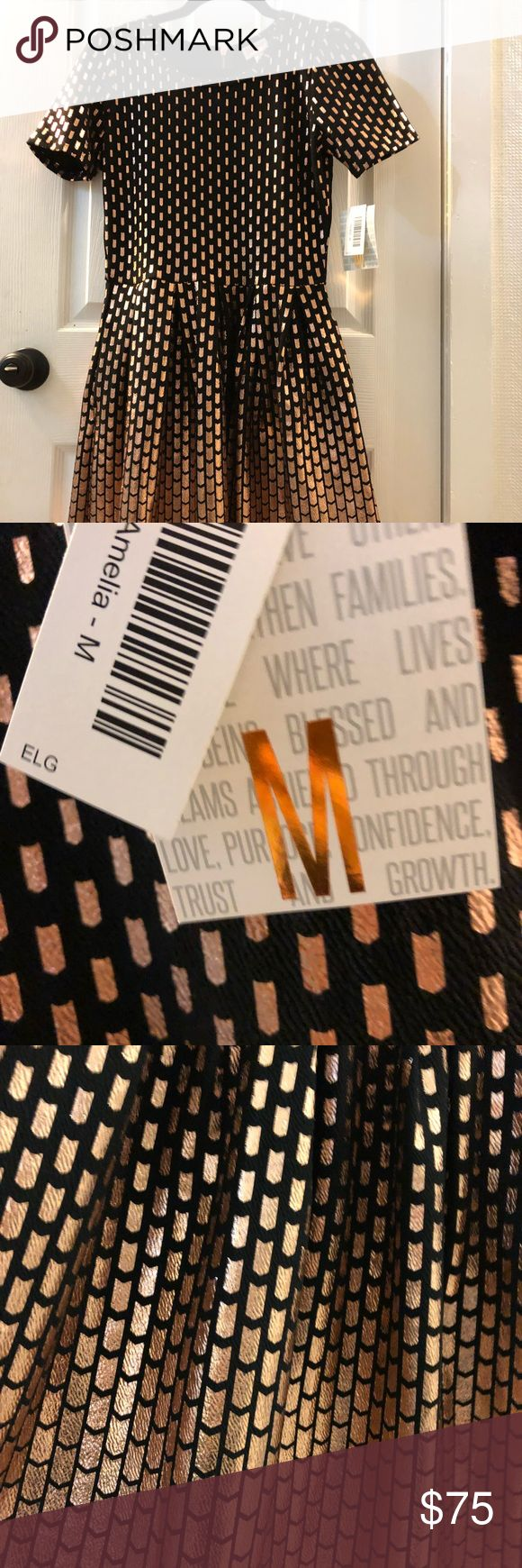 Lularoe LLR Amelia. Size Medium. NWT. Lularoe LLR Amelia. Size Medium. NWT. This is an amazing dress with pleats and pockets! Colors are rose gold and black with beautiful fading effect design. Rose gold zipper in the back. The amazing thing is this dress can also be worn backwards to have the zipper in front. Sizing is forgiving and can be worn by multiple sizes. Ask any questions! Shop the rest of my closet! LuLaRoe Dresses