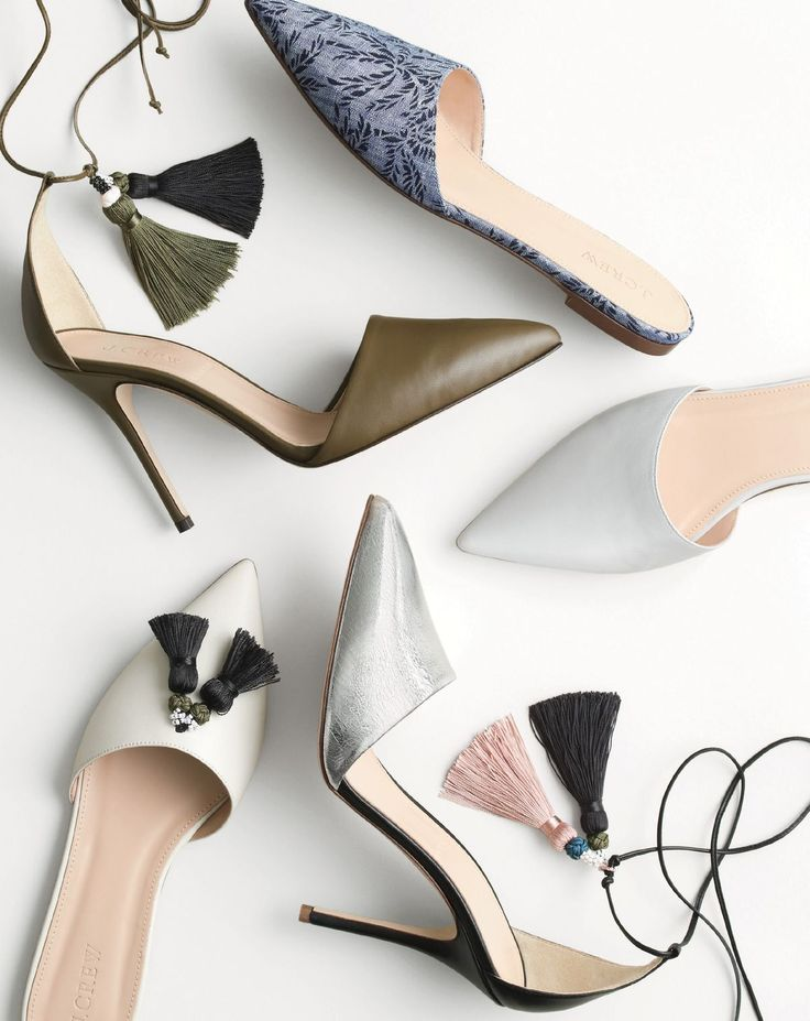 MAR '15 Style Guide: J.Crew women's tassel ankle tie Roxie pumps, crackled Roxie pump, linen Harper mule, leather Harper mule, and leather tassel Harper mule.