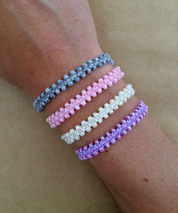 Tiny Glass Bead Macrame Friendship Bracelet With By