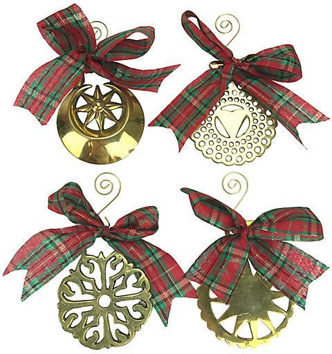 One Kings Lane Vintage English Horse Brass Ornaments. Set of four antique English horse brass Christmas tree ornaments. Four shapes include: a Celtic design, a crescent moon with a sun, a heart, and a sun. Sourced from England. Brass/ribbon. #ad