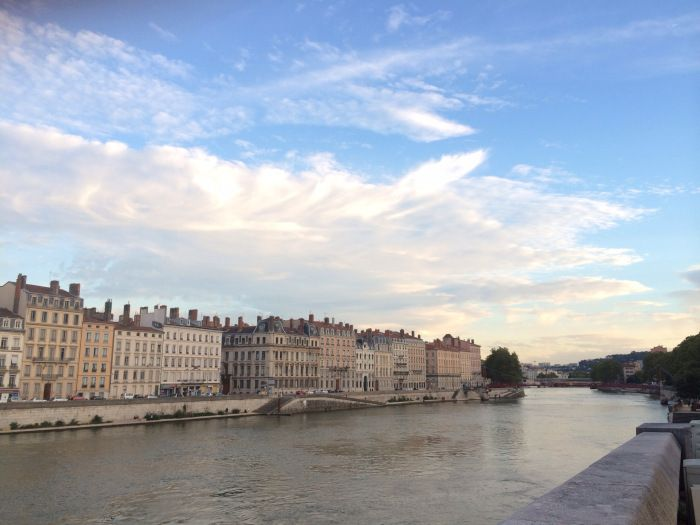 View across the Saône River.    [Links to blog post: 'Evening in Lyon']