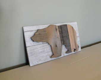 Bear Silhouette Grizzly Black Brown reclaimed pallet by HewnWoods
