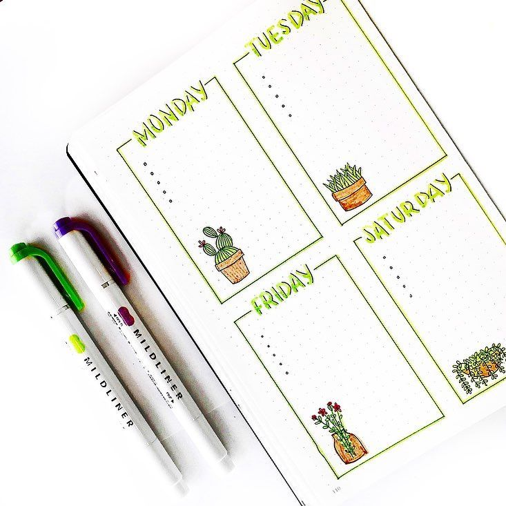 Bullet journal weekly layout, plant drawings. | @moonstarsbujo