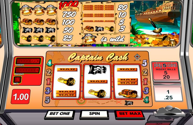 Hunt for Captain's Cash! Captain Cash is a classic slot machine with 3 reels and 5 pay lines powered by Betsoft Gaming. The Pirate symbol is a Wild, for three Wild you'll win 1000 coins. No Scatters, no Multipliers. Just another online classic slot machine. Not the best not the worst