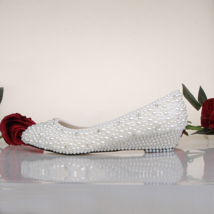 ==> [Free Shipping] Buy Best Sweetness Spring White Ivory Pearl Wedding Shoes Fashion Low Wedge Heel Bridal Shoes Prom Dancing Dress Shoes Bridesmaid Shoes Online with LOWEST Price | 32700971161