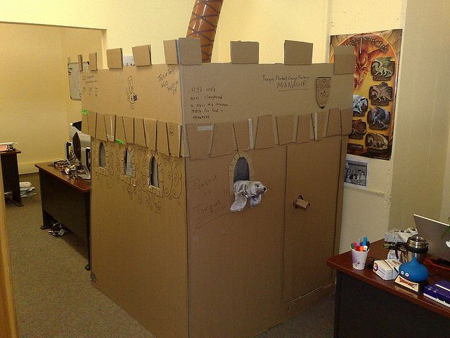 In Case You Couldnt Tell This Is A Finely Crafted Cardboard Castle Perfectly Ensconcing Deborahs Desk