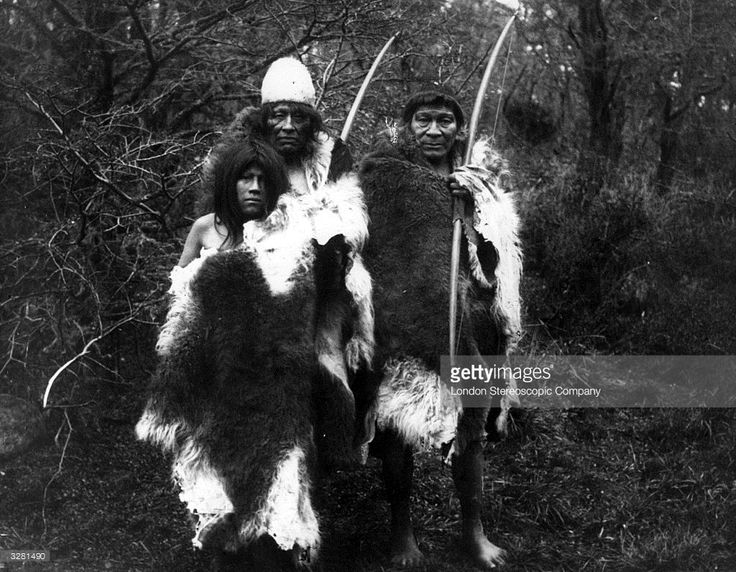 Ona Native Americans carrying bows. The Ona once occupied the interior of Tierra del Fuego, subsisted by hunting and were expert archers. Their main food was the flesh of the guanaco, a wild camel related to the llama, the skins of which they used for clothing and shelter.