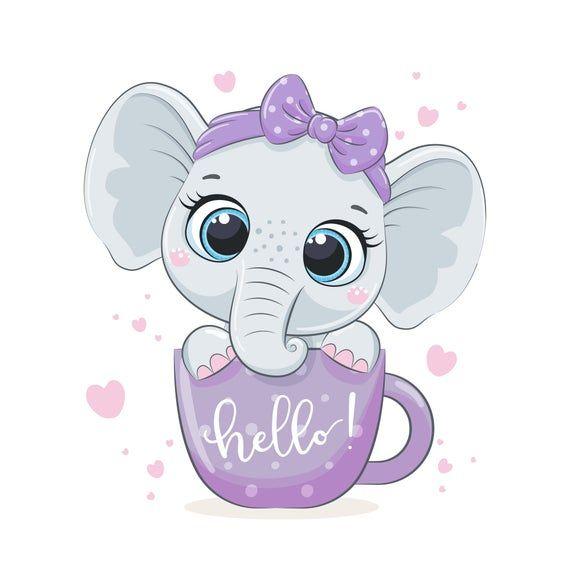 Bebe Elefante Bebe Nina Ducha Clipart Png Eps Jpeg Vivero Etsy Arte Infantil Dibujos De Animales Tiernos Dibujo Bebe Nina