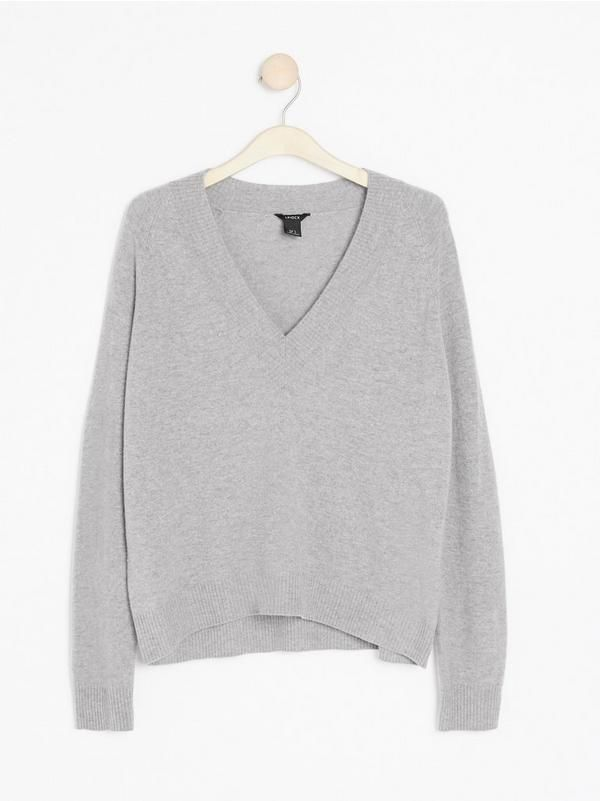Grå Stickad tröja i merinoull och kashmir 999: | Lindex