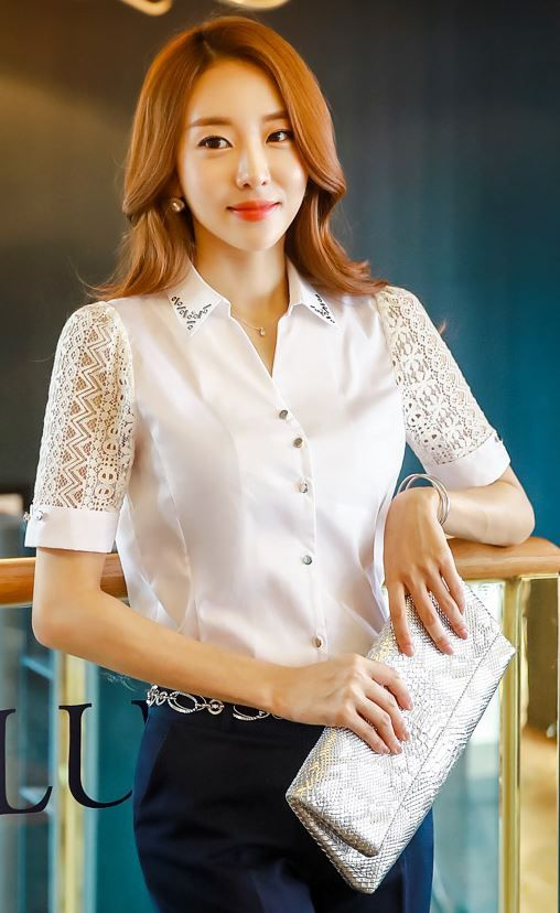 StyleOnme_Lace Sleeve Jeweled Collared Shirt #white #blouse #koreanfashion…