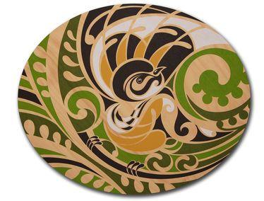 Piwaiwaka Oval plywood print. Artist; Shane Hansen