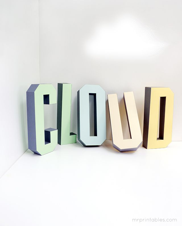3D alphabet letters- free printables - totally sweet for a party or garland.