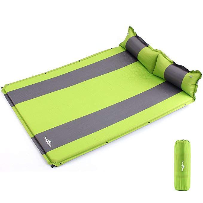 Seatopia Double Self Inflating Sleeping Pad Air Camping Mat With Pillow A L75 59 X W52 76a X H1 18a Revi Camping Mat Sleeping Pads Air Mattress Camping