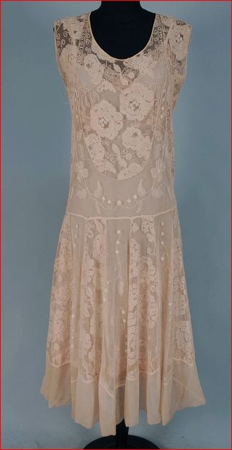 Embroidered lace dress, c. 1920s