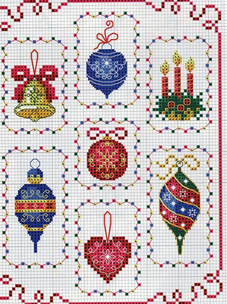 Вышивка крестом схемы новогодние на открытку, днем