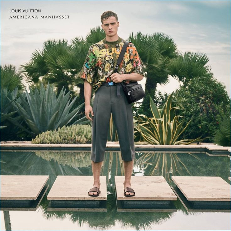 A tropical vision, Julian Schneyder dons a spring look by Louis Vuitton.