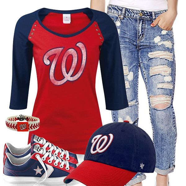 <3 This Washington Nationals Converse Outfit (maybe with in tact jeans. I might be a generation outside that look! )