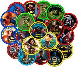 Personalised Party Bag Stickers.  Super Hero Theme  | eBay