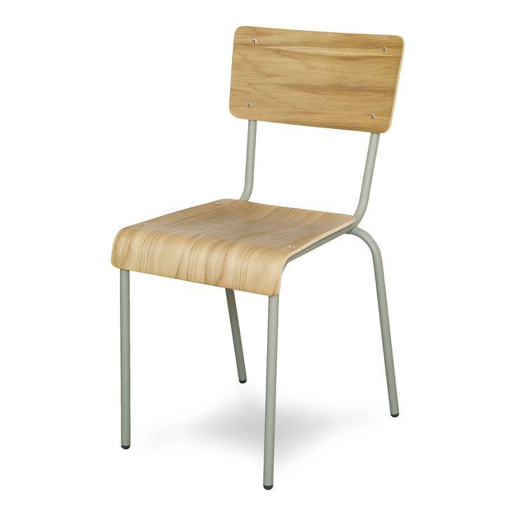 Chaise style écolier taupe et chêne H73cm Taupe - Ikon - Chaises - Tables et chaises - Salon et salle à manger - Décoration d'intérieur - Alinéa