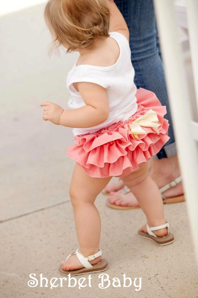 Sassy Pants Ruffle Diaper Cover Color Coral Sea by SherbetBaby, $32.00