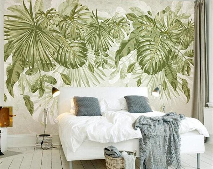 Southeast Asian Rainforest Plant Wall Murals Wall Decor Green Leaves Shrub Wallpaper Wall Mural Tropical Landscape Wallpaper With Images Beautiful Houses Interior Decor Mural Wallpaper