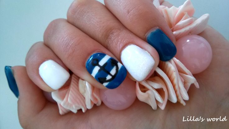 My beautiful summer navy nails :) Mermaid dust is on ring finger♥
