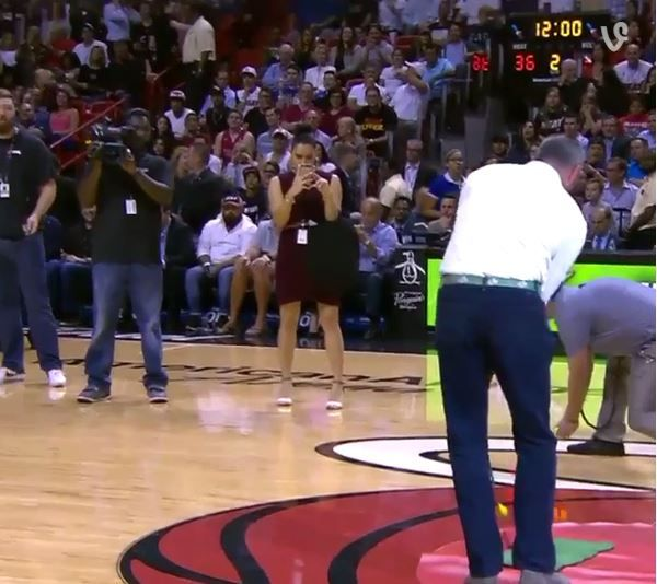 Matt Kuchar Chips In Shot from Half Court at Heat Game to Win Money for Charity