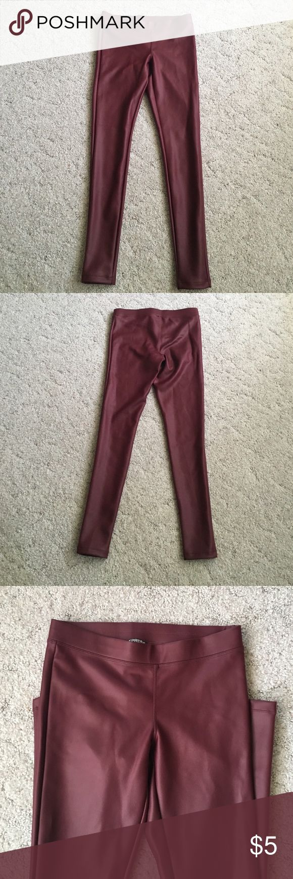 Maroon faux leather leggings Maroon faux leather leggings good stretch 31/32in inseam never worn. Express Pants Leggings