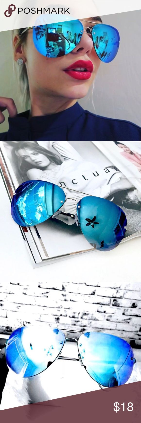 "Oversized ""BEBE"" Mirrored Aviator Sunglasses Oversized Aviator Unisex Sunglasses. Silver frames with blue mirrored lenses.   Color: SILVER/BLUE  ➲UV400 100% UV Protection ➲Light weight and comfortable ➲Durable hard plastic  Measurements: Lens Height: 58 mm (2.29 in) Lens Width: 65 mm (2.56 in) Bridge: 20 mm (0.79 in) Frame Width: 149 mm (5.87 in) Arm Length: 142 mm (5.60 in) Accessories Sunglasses"