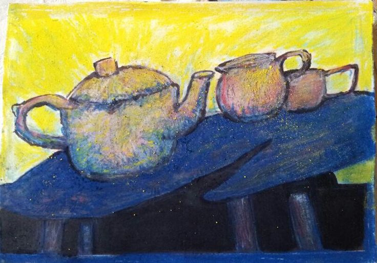 Latest project Alice's Tea Party series Watercolour pastel sticks soft pastels & ink on Rives paper.