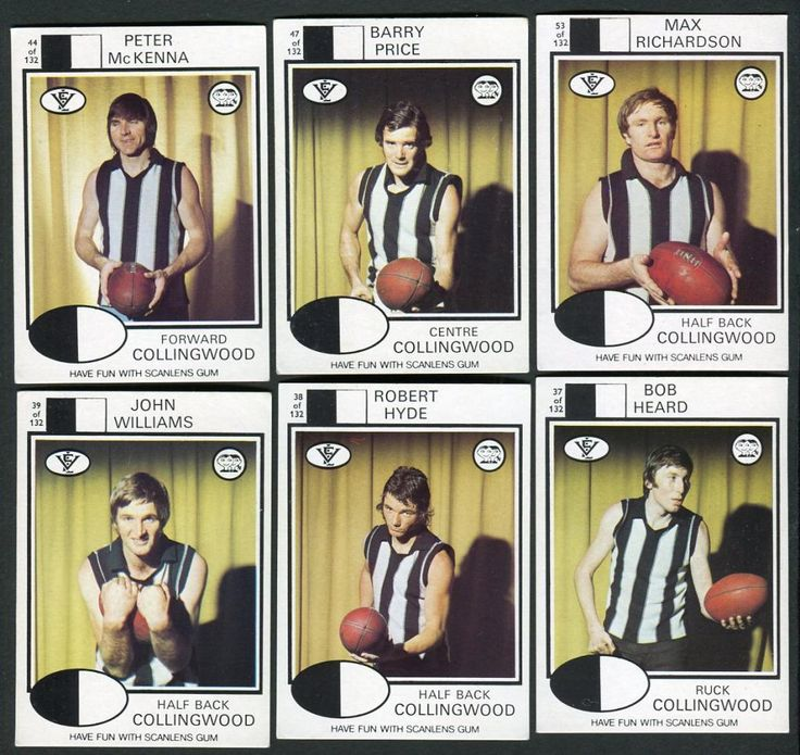 1975 Scanlens VFL Football Cards x 6 (Collingwood)