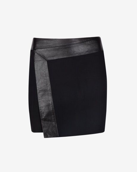 Wrap detail leather skirt - Black | Skirts & Shorts | Ted Baker