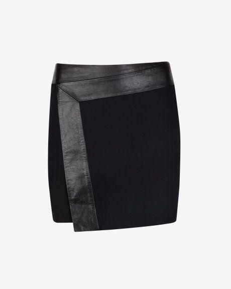 Wrap detail leather skirt - Black | Skirts & Shorts | Ted Baker