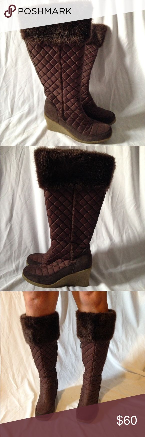 Colin Stuart brown wedges boots size 7. Colin Stuart brown wedges boots size 7. Wore it a few times but are in excellent condition . Round toes stitch accents, Wedge heel and side zip for easy slip on and off Size 7 heel 3. Super cute boots. Please see pictures. Colin Stuart Shoes Winter & Rain Boots