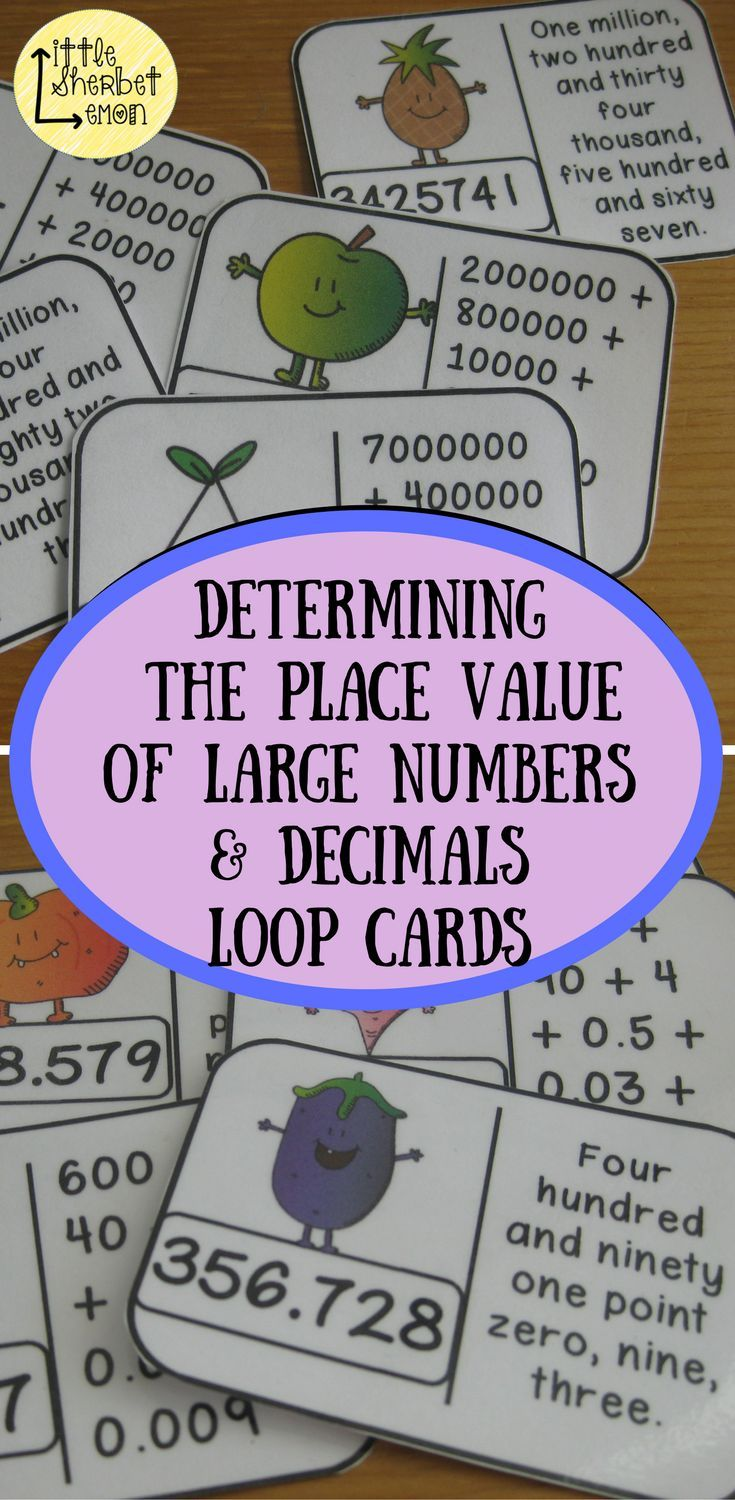 Included in this pack are 2 sets of 32 loop cards which link standard form (e.g. 5364723) for writing numbers with the expanded (e.g. 5000000 + 300000 + 60000 + 4000 + 700 + 20 + 3) and word form (e.g. five million, three hundred and sixty four thousand, two hundred and twenty three).  1 set uses 7-digit numbers (millions) and another set uses hundreds, tens, units and decimals of 3 decimal places (HTU.thth).