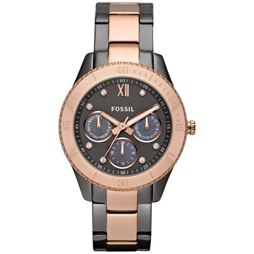 Fossil Women's Stella ES3100 Two-Tone Stainless-Steel Quartz Watch with Black Dial