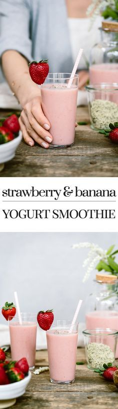 This Strawberry Banana Yogurt Smoothie is the best breakfast. It is low in fat and high in antioxidants.