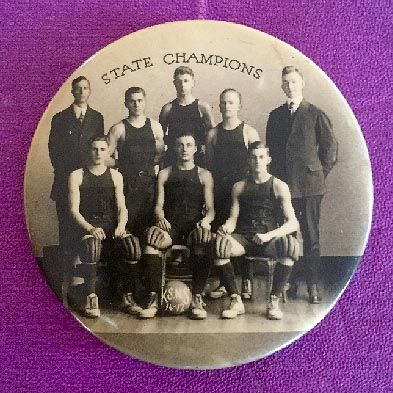 1916-17 Kutztown University (Kutztown State Normal School) Pocket Mirror of the Pennsylvania State Champions Basketball Team. This wonderful piece of vintage basketball memorabilia features a team photograph of the 1916-17 Kutztown University Basketball Team.  $350