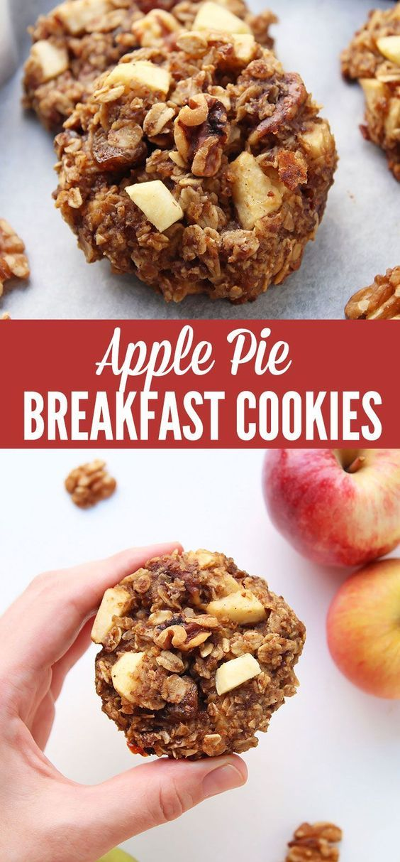 Oatmeal Breakfast Cookies with apple sauce apple dices walnuts raisins and spices that make them taste like apple pie! This is one delicious healthy way to eat dessert for breakfast. The cookies are gluten free refined sugar free with a vegan option.