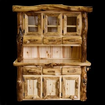 Rustic Aspen Buffet and Hutch. In desperate need of kitchen storage space!! Apartment problems...