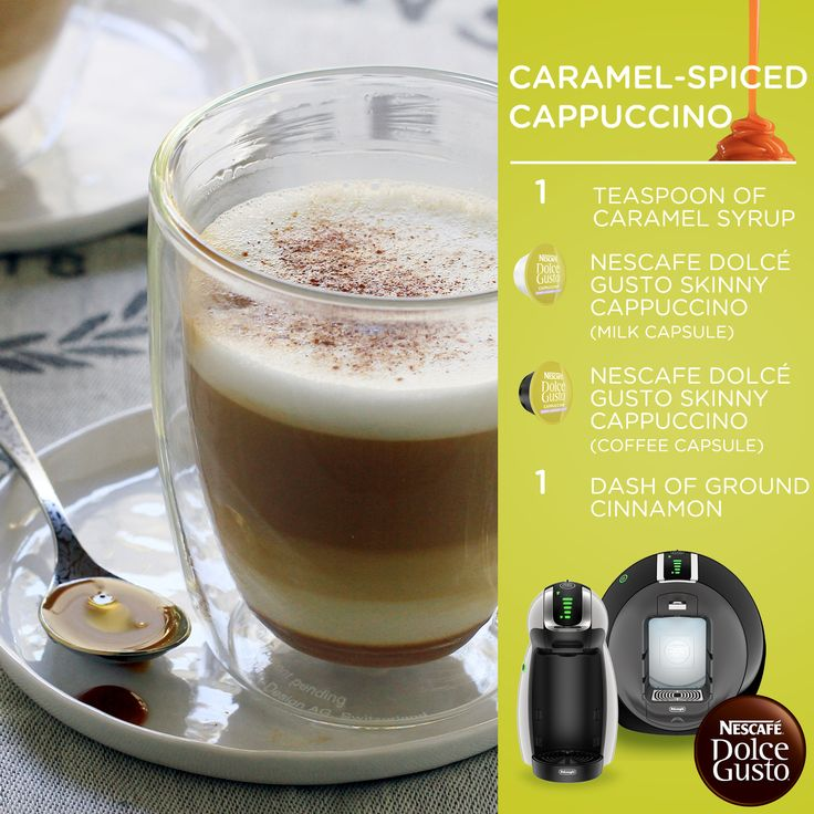 Dolce Gusto Caramel Spiced Cappuccino – Sweet and satisfying! Use the Nescafe Dolce Gusto Circolo by DeLonghi to make this recipe! This single-serve system will help you make all kinds of gourmet-quality drinks.