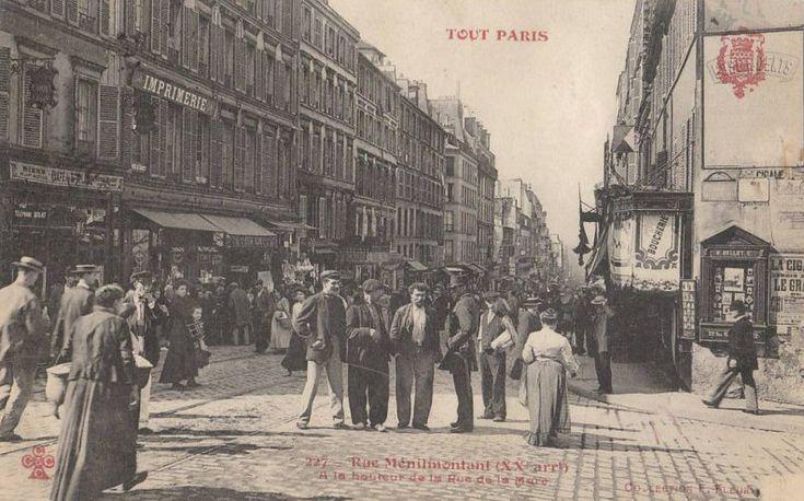 rue de Ménilmontant - Paris 20ème La rue de Ménilmontant à la hauteur de la rue de la Mare, vers 1900.