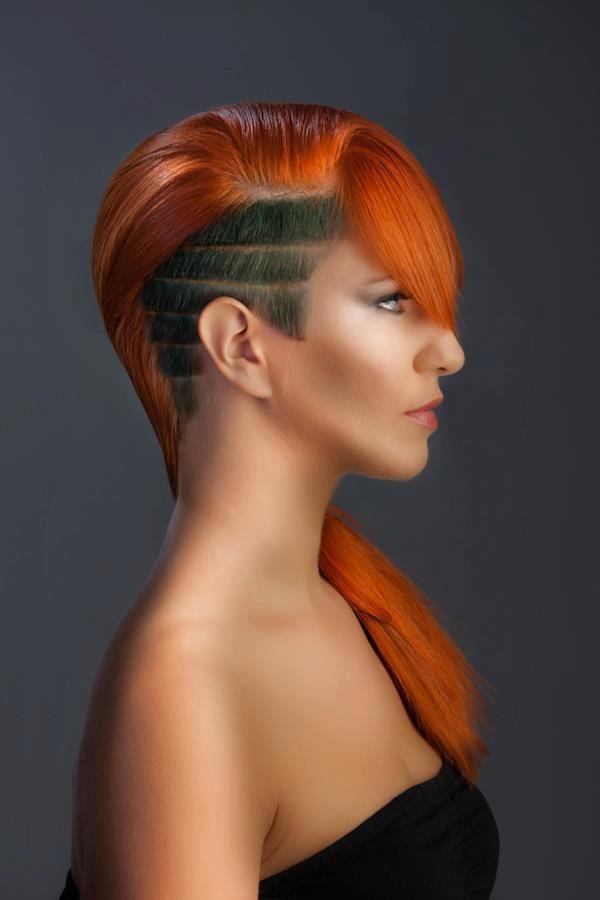 Long Red Hair, Dark Undercut, Hair Tattoo | Sidecuts ...